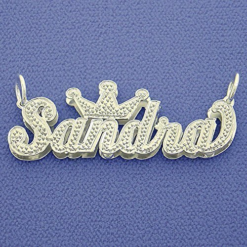 Silver Crown Script Name Pendant Necklace Diamond Accent 3D Double Plates Custom Made Jewelry by Soul Jewelry Inc
