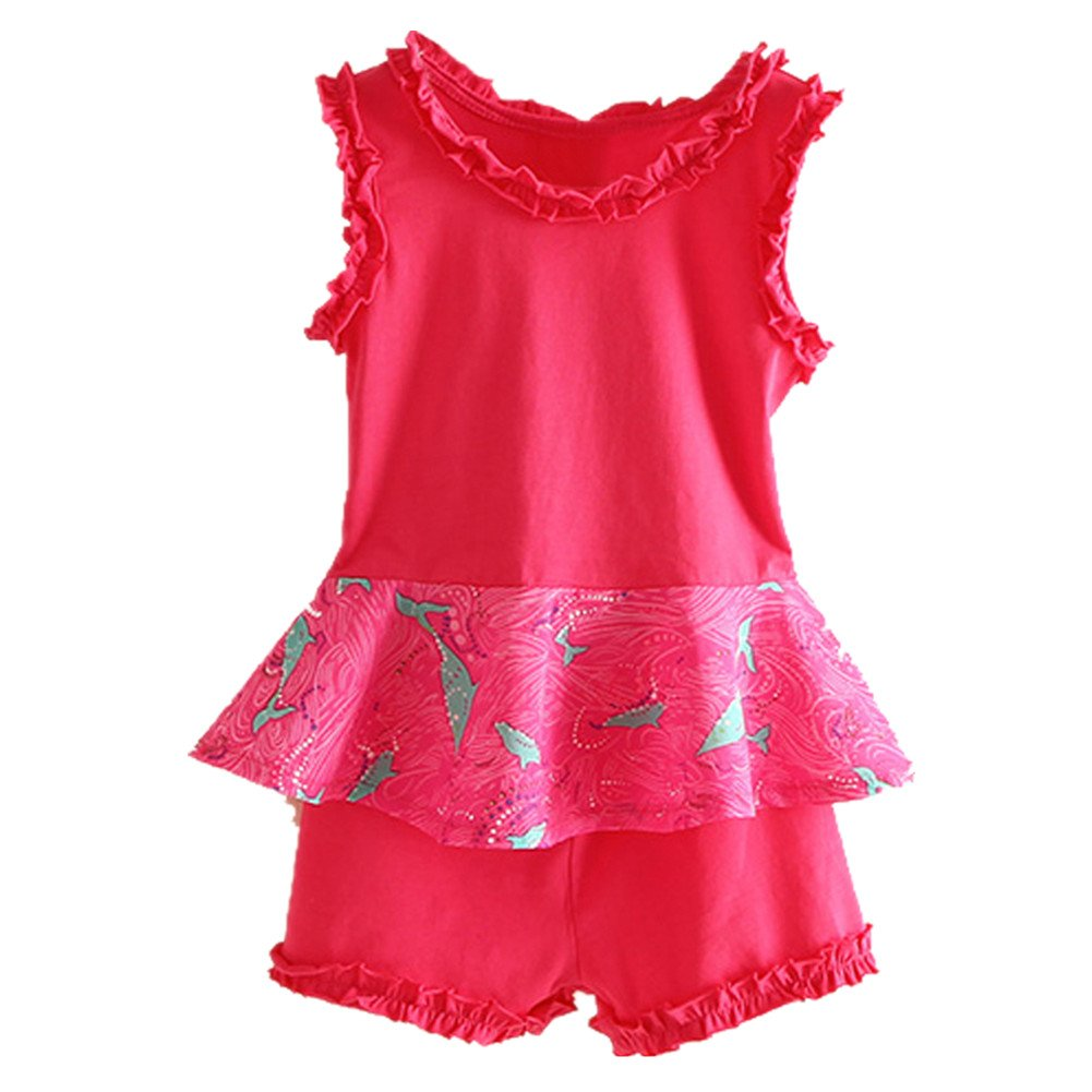 LittleSpring Little Girls' Short Set Sleeveless Summer