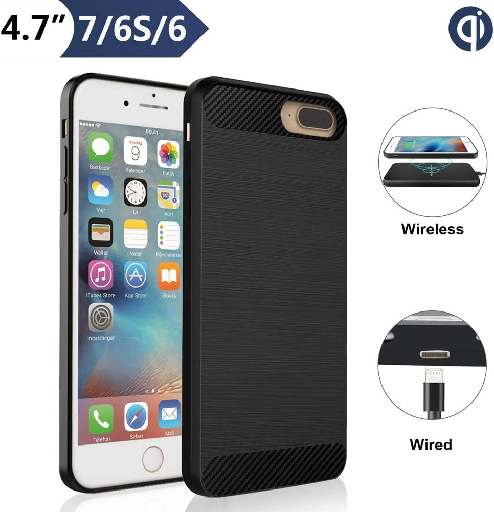"""ANGELIOX Qi Wireless Charging Case for iPhone 7 6 6S (4.7"""" Screen Size), Wireless Charger Receiver [3rd Generation] Shockproof Protective Back Cover-No Battery"""