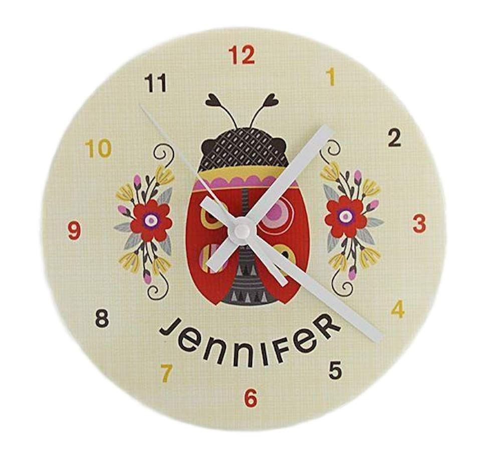 Personalized Kids Wall Clock 8 Inch - Colorful Kids Room Wall Decor, Unique Kids-Gifts (Brad Design) Qualtry
