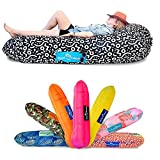 Chillbo Don POOLIO Pool Floats for Adults - Cool Patterns, Inflatable Sofa & Kids Hammock - Best Camping Gear for River Floats Hammock Chair & Raft for Beach (Black + White Swizzle)