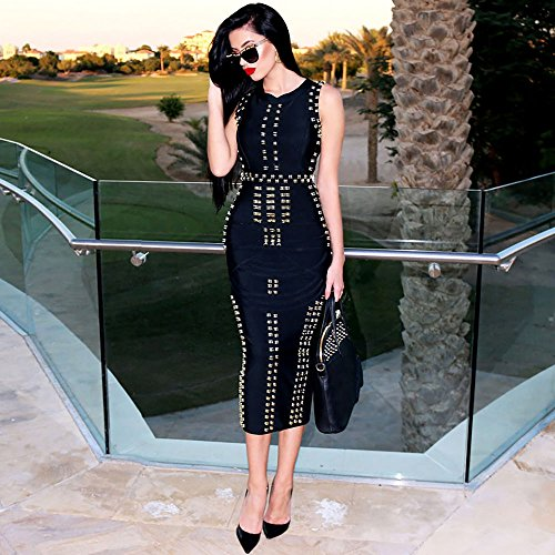 HLBandage Women Sleeveless Metal Ring Maxi Long Robe Bandage Dress Negro