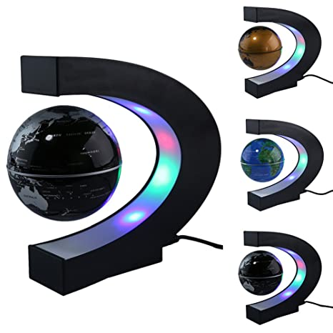 C Shape Led Magnetic Globe World Map Floating Table Night Light Desk Lamp For Child Birthday Gift Home Us Plug Attractive Designs; Home