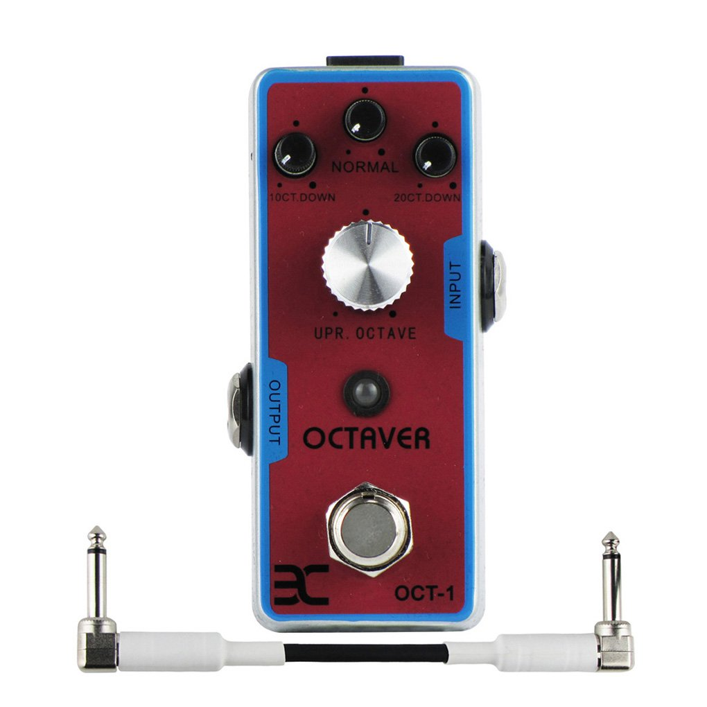 EX Digital Octave Guitar Octaver Effect Pedal True Bypass, with One 10cm Patch Cable White by EX