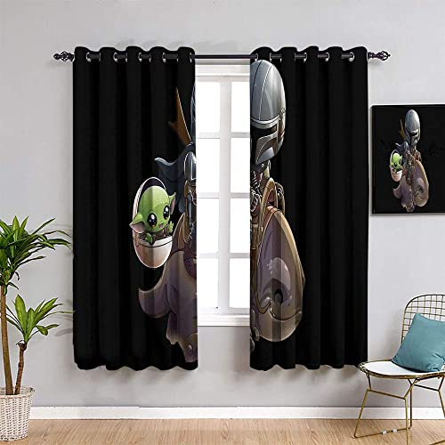 Coobal Insulated Curtains Star Wars The Last Jedi for Child Living Room Thermal Insulating Blackout Curtain W84 x L84
