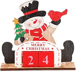 Amosfun Christmas Wooden Advent Calendar Seating Snowman Design Desktop Reusable Perpetual Countdown Calendar Block for Festive Home Table Ornament