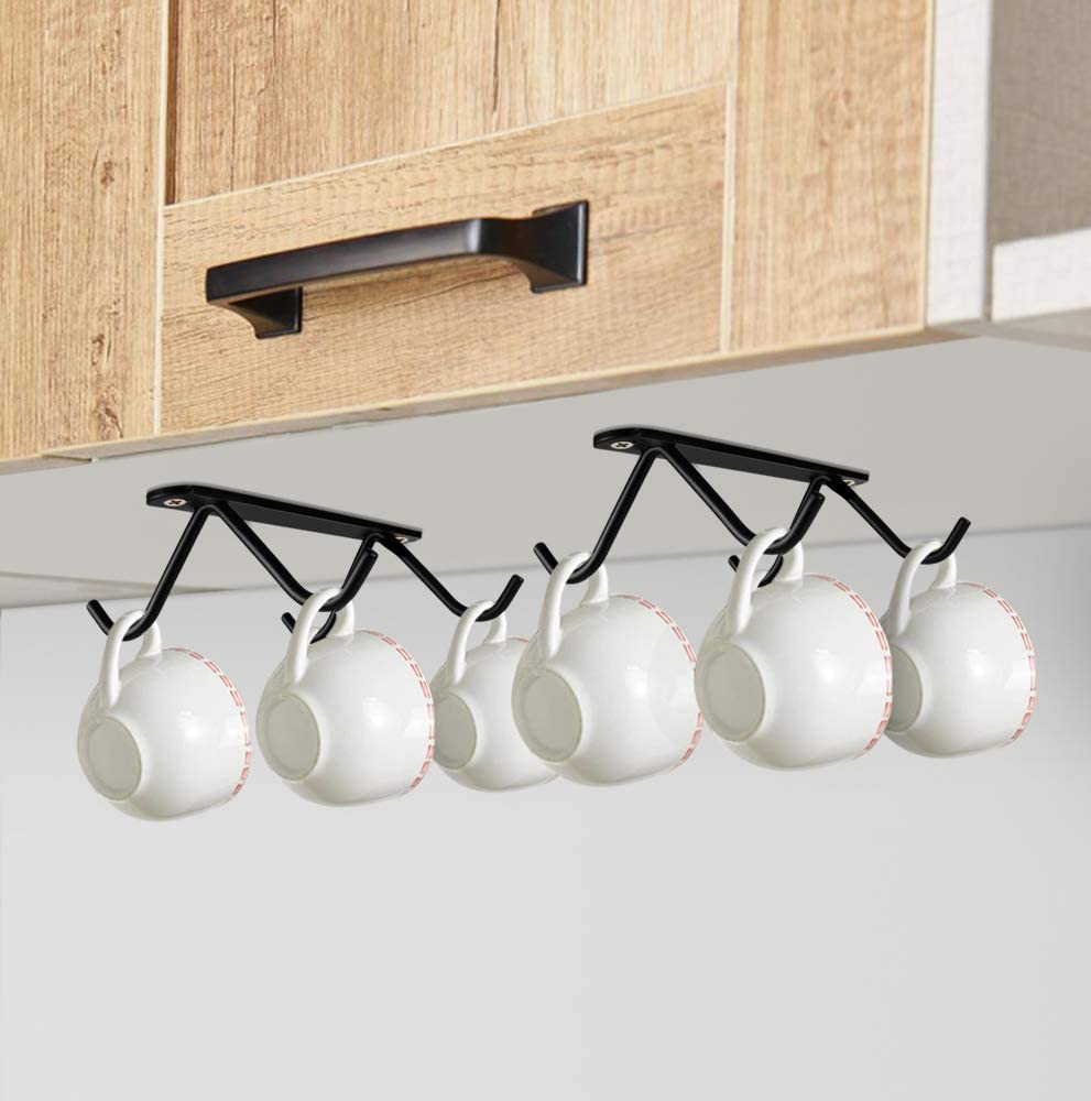Homgaty Soporte para tazas de caf/é para almacenamiento de tazas caf/é o para colgar utensilios de cocina marco de gancho con 8 ganchos 2 piezas soporte para copas de armario gancho multifuncional