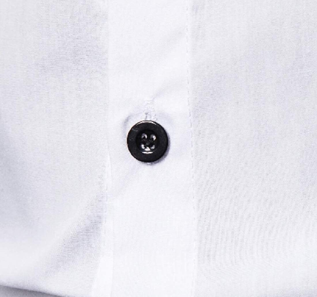 HANA+DORA Mens Color Stitching Short Sleeves Patchwork Casual Button Down Shirt