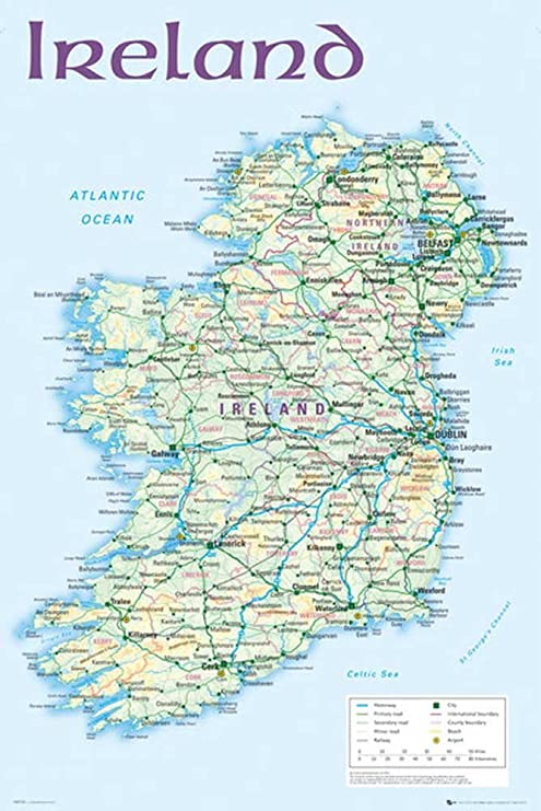 irland karte städte Amazon.de: Ireland   Map 2012 Landkarten Irland Dublin Städte