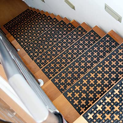 Rubber-Cal 10-104-000-6PK Stars Step Mat Stair Treads