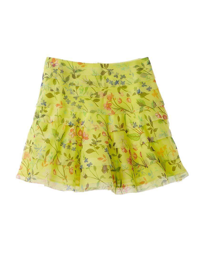 OSCAR DE LA RENTA Girls Spring Field Silk Skirt, 14Y, Yellow