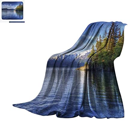 353fba8d82697 Alaska Custom Design Cozy Flannel Blanket Turnagain Arm of The Cook Inlet  Anchorage Idyllic Lakeside Photography