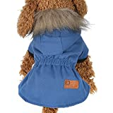 Cat Pet Small Dog Doggy Clothing Winter Warm Padded Thickening Vest Coat Dog Costumes Pet Fur Collar Clothes Sweater Dog Shirt Apparel Doggy Vest Puppy Sweatshirt Outfits Doggy Dress (Blue, S)