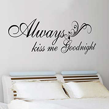 Always Kiss Me Goodnight Romantic Vinyl Wall Decal Qoute Love Saying  Lettering Words Home Art Decoration