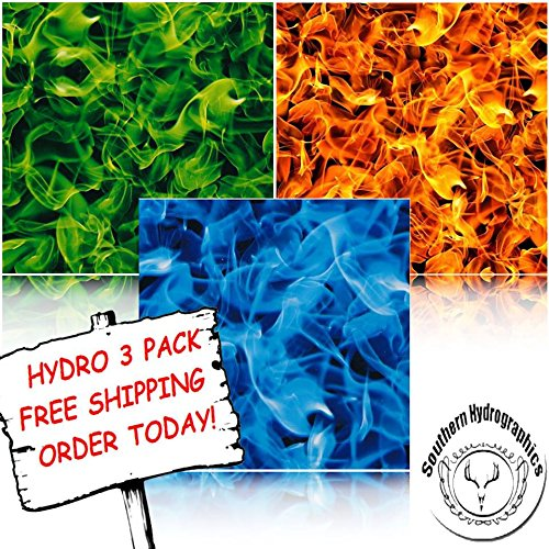 Hydrographic Film - Water Transfer Printing - Hydro Dipping -Extreme Flames Hydro 3 pack by Southern Hydrographics