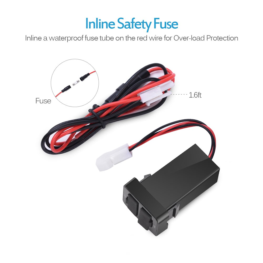 12V//24V 2.1A Dual USB Power Socket for Smartphone PDA iPhone iPad GPS Charger for Toyota UC002 NEW MICTUNING