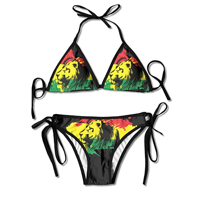 667bea113a539 Amazon.com  Rasta Lion Women s Sexy Triangle Mesh Bikini Set Bathing Suit  Beach Swimsuits Custom Pad Bra Swimwear  Clothing