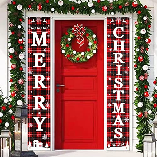 Merry Christmas Door Banners Porch Sign Hanging Banner Flag for Christmas Home Wall Indoor Outdoor Christmas Party Decorations