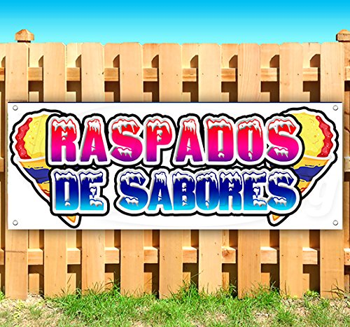 RASPADOS DE SABORES 13 oz Heavy Duty Vinyl Banner Sign with Metal Grommets, New, Store, Advertising, Flag, (Many Sizes Available) by Tampa Printing