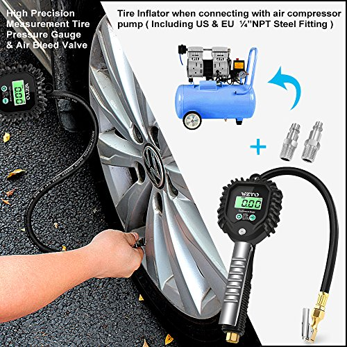 WZTO Digital Tire Pressure Gauge High Precision Tire Inflator Gauge 255 PSI with LCD Screen, Air Chunk, and Rubber Hose for Any Car, Truck, Motorcycle by WZTO (Image #4)