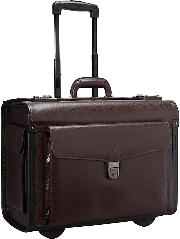 Mancini Deluxe Wheeled Catalog Case, Leather Rolling Business Case