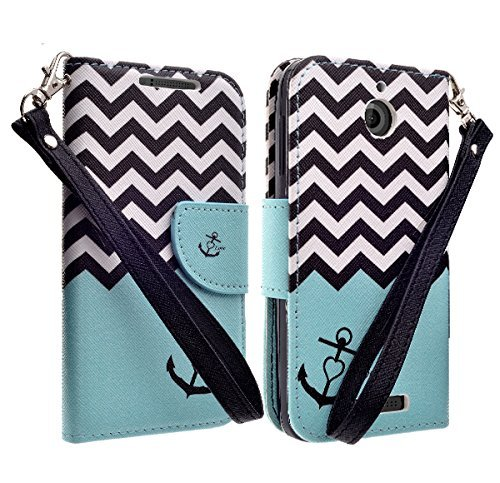Htc Diamond Design Snap - HTC Desire 510 Wallet Pouch All-in-One Phone Protective Cover - Premium Faux Leather Folio Flip Book Case w/ Kickstand By Zase ® Unique Design (Baby Blue Teal Anchor)