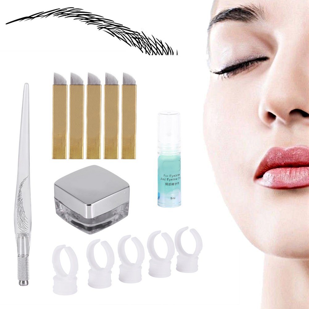 Kit de Microblading Tatuaje, 3D Ceja Microblading Tatuaje Aguja Pluma Pigmento Práctica Semi-Permanente Herramienta de Maquillaje Manual Por Filfeel