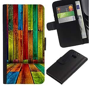 """JackGot ( Color madera - Patrón Grunge"""" ) HTC One M8 la tarjeta de Crédito Slots PU Funda de cuero Monedero caso cubierta de piel"""