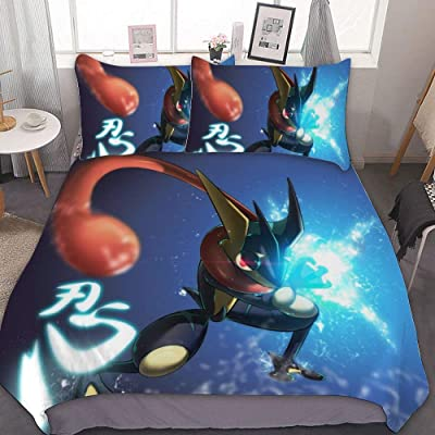 MEW Anime Poke-mon Twin Bedding Duvet Cover Set,Poke-mon Greninja 2,3 Pieces Bedding Set,with Zipper Closure and 2 Pillow Shams,Cute Boys Girls Comforter Sets,Luxury Bedroom Decorations: Kitchen & Dining