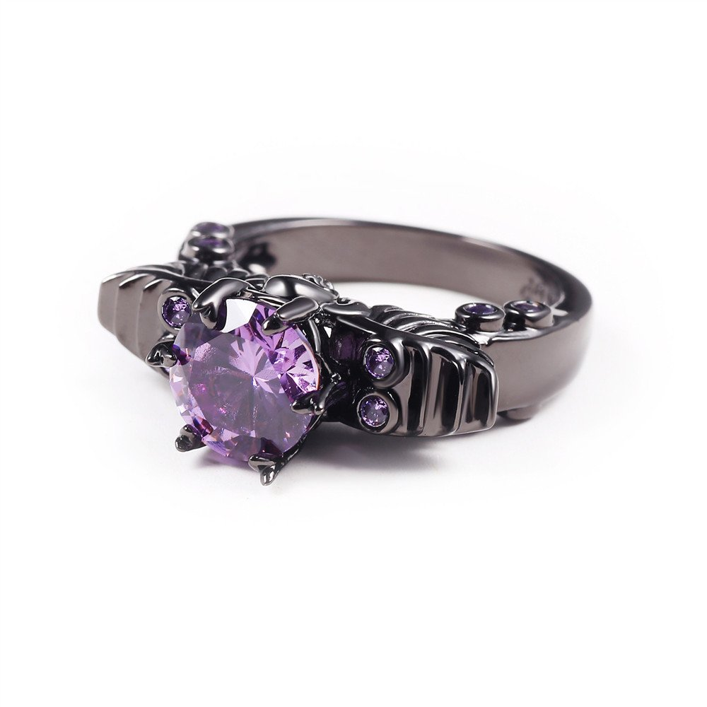 JAJAFOOK Unisexs Purple Zircon Plated Black Gold Skull Ring Vintage Wedding Engagement Jewelry