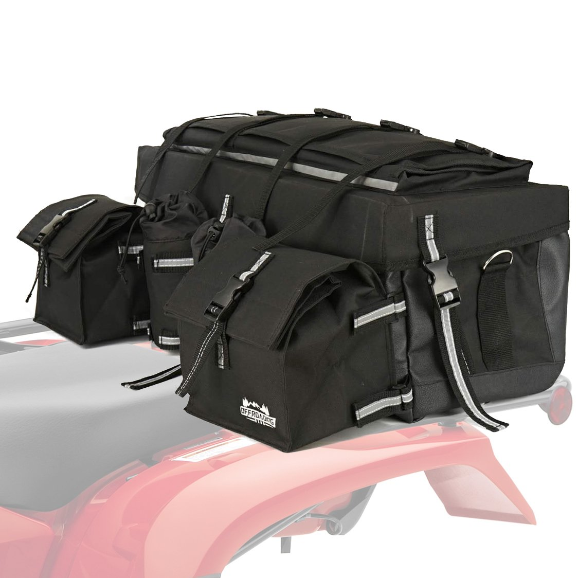 Offroading Gear ATV/Quad Rear Rack Bag with Rain Cover and Insulated Cooler Bags, Black