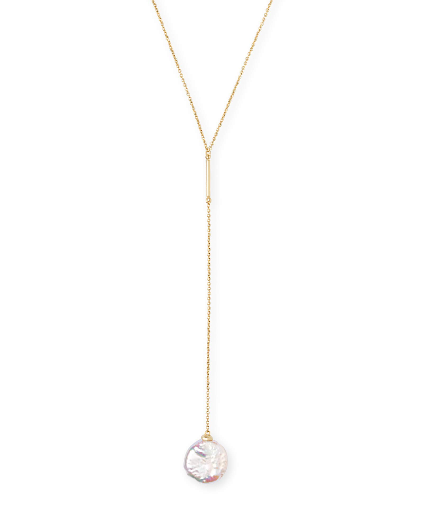 Kendra Scott Andi Gold Y Necklace in Pearl by Kendra Scott