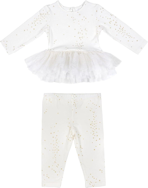 Kardashian Kids Girls Baby 2 Piece Ivory Top Leggings Set with Glitter Stars New