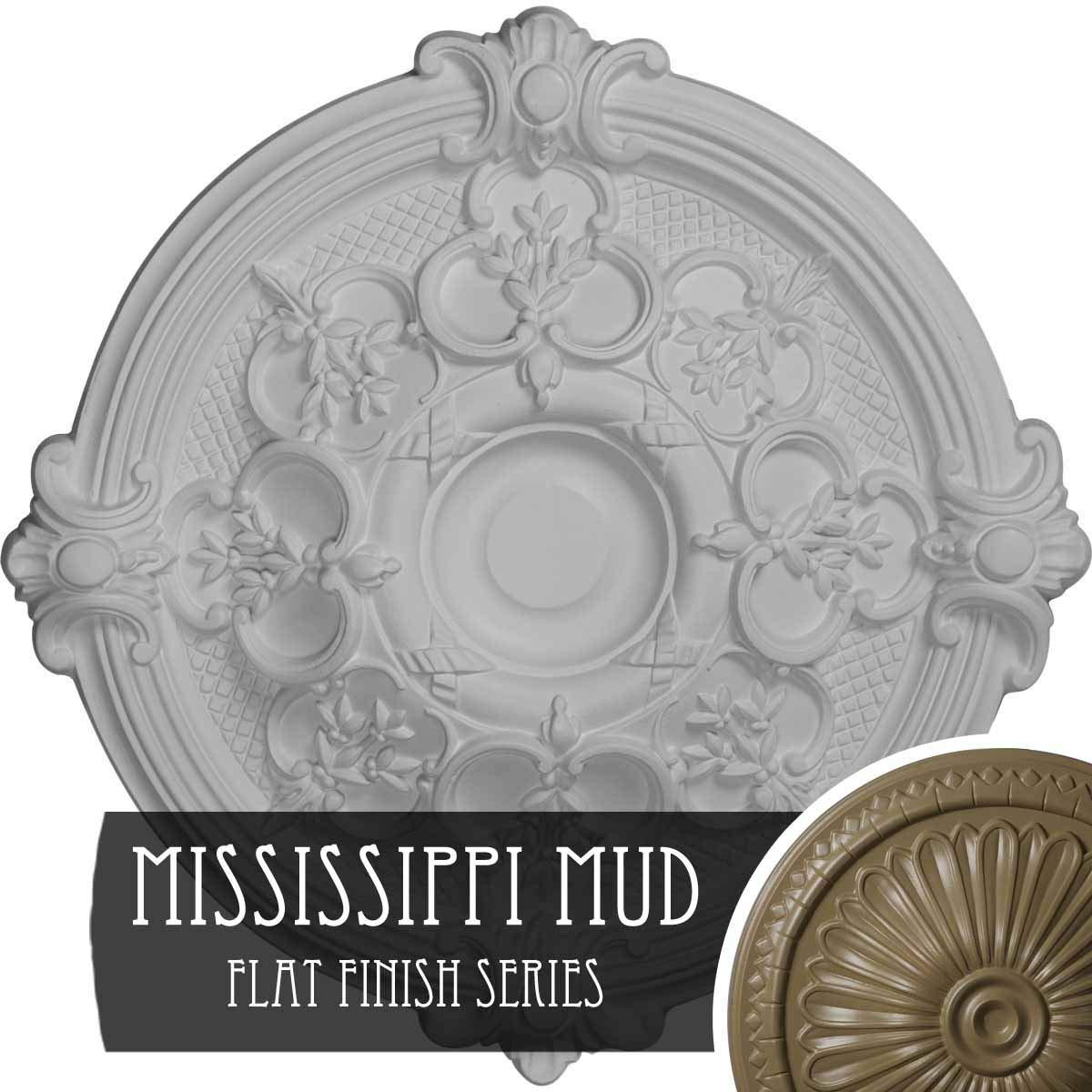 Ekena Millwork CM17HAMMF Hamilton Ceiling Medallion Fits Canopies Up to 3 3/4'', Mississippi Mud