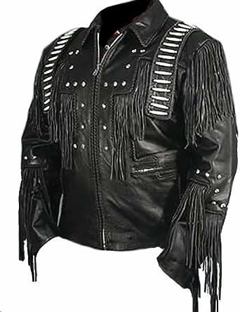 Western Leather Mens Stylish Motorcycle Leather Jacket Black