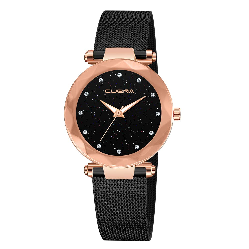 Starry Sky Watch for Women, Crystal Dial Analog Quartz Wristwtach with Buckle Mesh Steel Band Bravetoshop C8309(D) by Bravetoshop- Watch (Image #1)