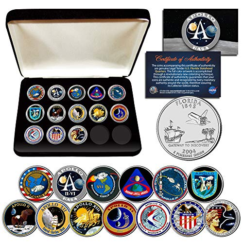 APOLLO SPACE MISSIONS FL Quarters 13-Coin Complete Set NASA PROGRAM with Box