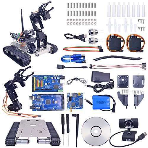 XiaoR Geek Robot car kit for Arduino Project - 4DOF Manipulator - Hd Camera - Tank Chassis Programmable DIY Robotics Vehicle Toys for Kids/Adults Controlled by iOS/Android PC (2560-GFS-Arm) (Best Vaping Mods For Beginners)