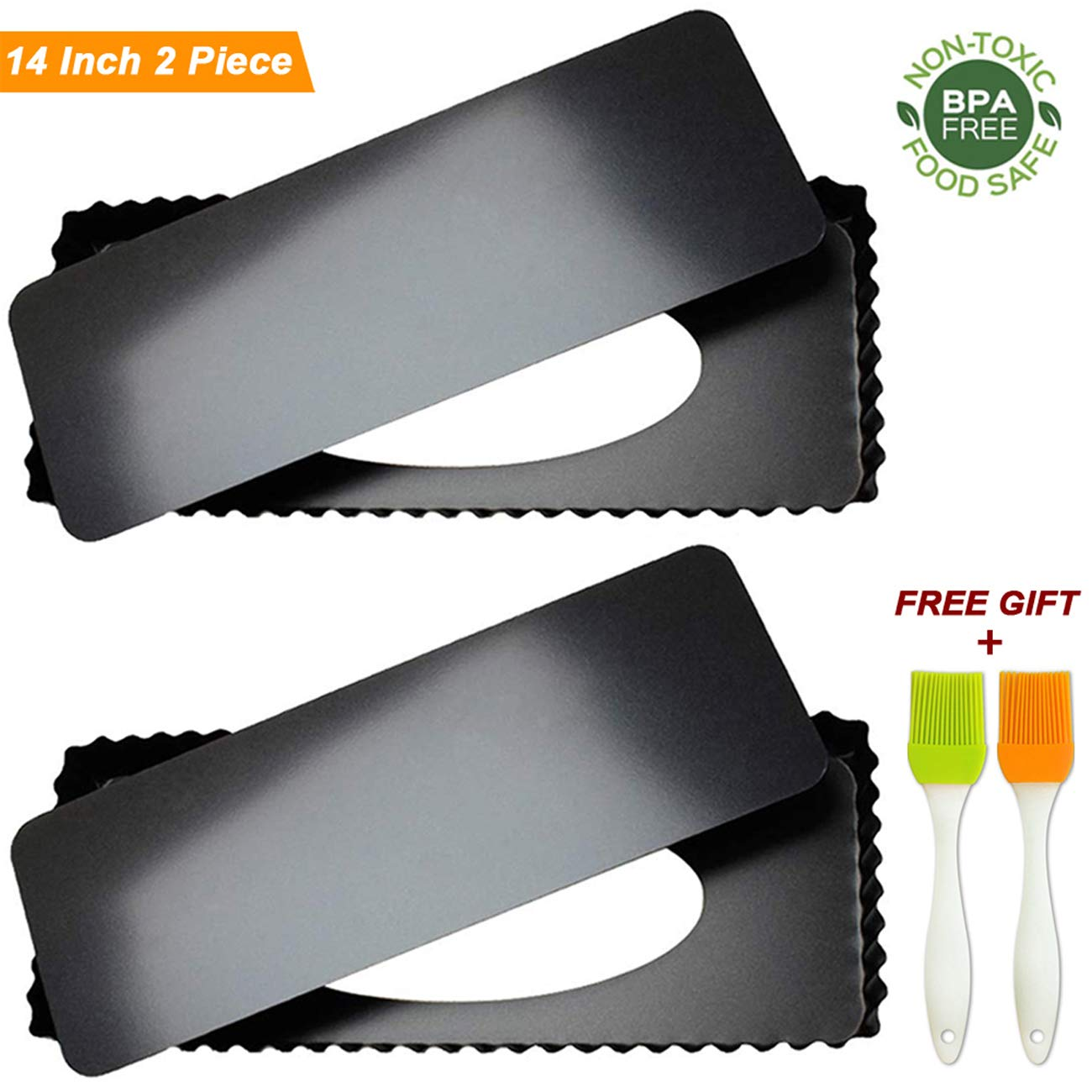 Tart Pie Pan 14 Inch with Removable Loose Bottom Non-Stick Rectangular Fluted Flan Quiche Pizza Cake Pans Carbon Steel 2PCS