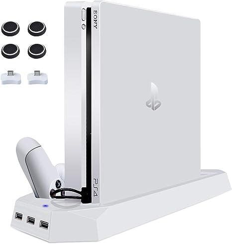 XINLUCK soporte vertical para ps4 slim con doble ventilador de estación de carga del controlador 3 puertos usb para consola playstation 4 blanco: Amazon.es: Videojuegos