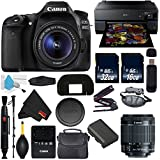 6Ave Canon EOS 80D DSLR Camera with 18-55mm Lens International Version (No Warranty) + Epson SureColor P800 Inkjet Printer + 16GB & 32GB SDHC Class 10 Memory Card + Carrying Case Bundle