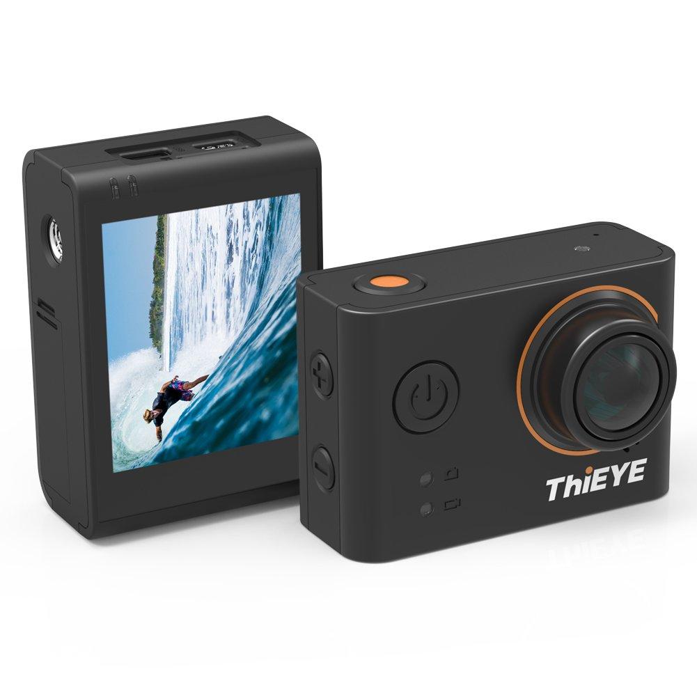 ThiEYE T3 Cámara de acción WiFi Deportes Cámara 4K Impermeable 60M 12MP Ultra HD cámara subacuática con Carcasa Impermeable Recargable y Kit de Accesorios (Negro)