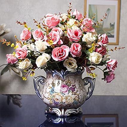 Dreamingces Flores Artificiales Estilo Europeo Rosas Rosas Home