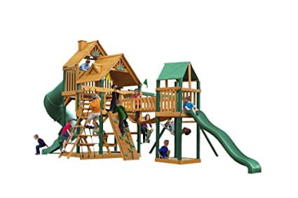 Amazon Com Treasure Trove Swing Set With Wood Roof Canopy Toys Games