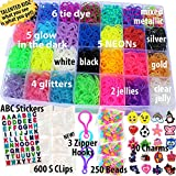 11,750+ Authentic Rainbow Mega Refill Loom by Talented Kidz: Includes 10,750 Premium Quality Rubber Bands, 3 Backpack Hooks, 30 Charms, ABC Stickers, 250 Beads, 600 Clips, DIY Personalized Organizer