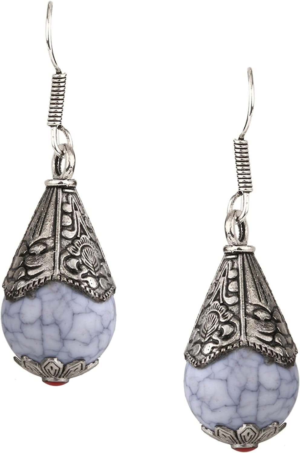 Efulgenz Boho Vintage Antique Ethnic Gypsy Tribal Indian Oxidized Silver Dangle Drop Earrings Jewelry (Color Options)