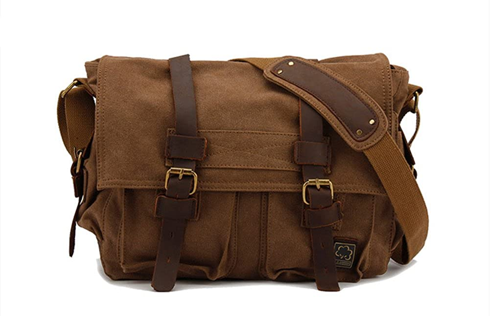 Sechunk Vintage Military Leather Canvas Laptop Bag Messenger Bags