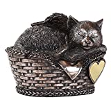 Pet Memorial Angel Cat Sleeping In Basket Cremation Urn Bronze Finish Bottom Load 30 Cubic Inch by Windhaven Urns