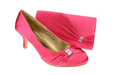 Chic Feet Womens Hot Pink / Fuchsia Party Wedding Prom Evening Shoes &  Matching Bag -