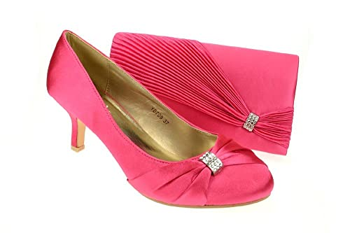 6c4545bec78a Chic Feet Womens Hot Pink   Fuchsia Party Wedding Prom Evening Shoes    Matching Bag -